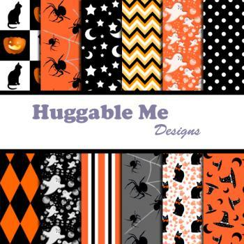 Halloween Scrapbook Papers for Digital Background, Halloween, Autumn, Harvest, Invitation, Cards 12x12 - HMD00061