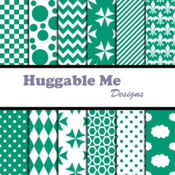 Green Emerald Scrapbook Paper - Emerald Green Paper for Wedding, Scrapbook Printables, Cards 12x12 - HMD00073