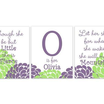DIGITAL DOWNLOAD - Purple and Green Nursery Wall Art, She Be But Little, Let Her Sleep, DIGITAL DOWNLOAD Kids Wall Art, Nursery Quote Art - KIDS176