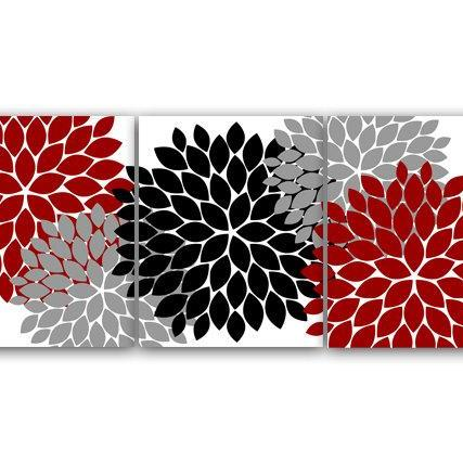 DIGITAL DOWNLOAD - Bathroom Wall Art, INSTANT DOWNLOAD Bath Art, Printable Modern Bedroom Decor, Red and Gray Decor, Flower Burst Art, Home Decor - HOME39