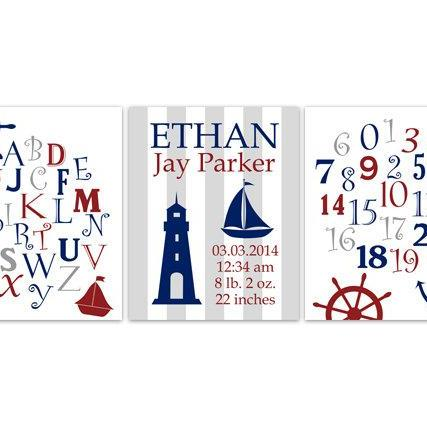 DIGITAL DOWNLOAD - Birth Stats Wall Art, DIGITAL DOWNLOAD Nautical Nursery Decor, Alphabet Art Print, Boys Room Art, Set of 3 Nursery Prints - KIDS145