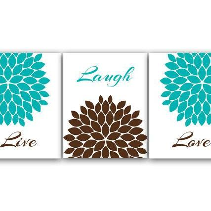 DIGITAL DOWNLOAD - Bedroom Wall Art, Printable Bathroom Art, Live Laugh Love, Teal Home Decor, Aqua and Brown Flower Burst Artwork, Instant Download - HOME18
