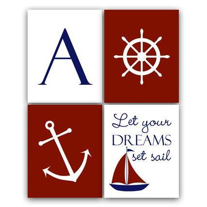 DIGITAL DOWNLOAD - Nautical Nursery Wall Art, DIGITAL DOWNLOAD Nursery Quote Art, Sailboat Nursery Decor, Personalized Nursery Art, Let Your Dreams - KIDS91