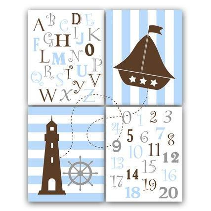 DIGITAL DOWNLOAD - Nautical Nursery Wall Art, INSTANT DOWNLOAD Blue and Brown Nursery Art, Alphabet Art Nursery, Nautical Number Art - KIDS64