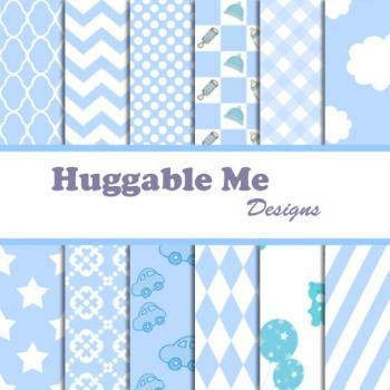 Digital Scrapbooking Paper Baby Blue for Baby Boy Scrapbook Invitation Cards Chevron Stripes Stars Gingham Polka Dots 12x12 - HMD00013