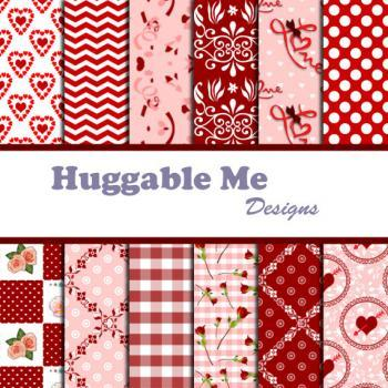 Digital Scrapbooking Paper Red and White Digital Valentine Paper for Wedding Scrapbook Backgrounds 12x12 - HMD00033